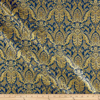 Metallic Jacquard Damask Navy/Gold