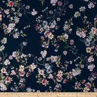 French Couture Stretch Cotton Sateen Floral Navy/Multi