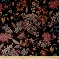 Italian Couture Stretch Panne Velvet Floral Brown