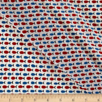 Italian Couture Fish Printed Silk Crepe de Chine Blue/Red/White