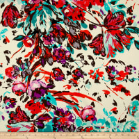Italian Couture Digital Print Stretch Cotton Twill Floral Ivory Multi