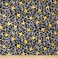 French Couture Cotton Twill Mod Floral Navy/Mustard