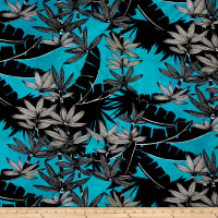 Italian Couture Cotton Jersey Knit Bamboo Print Turquoise/Black