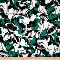 Max Mara Silk Digital Print Floral Green/White/Black