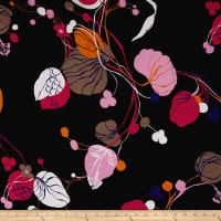 Italian Couture Silk Viscose Voile Floral Black Multi