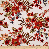 Italian Couture Cotton Lawn Digital Print Floral White/Autumn