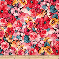 Max Mara Digital Floral Stretch Lace Red Multi
