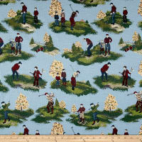On The Links Golfers Jacquard Toile Blue