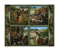 "Wild Wings Feast In The Valley Deer Pillow 36"" Panel Multi"