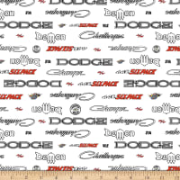 Riley Blake Dodge Logos White
