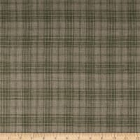 100% European Linen Plaid Olive