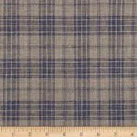 100% European Linen Plaid Blue
