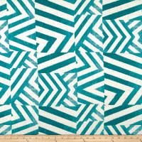 100% European Linen Abstract Teal