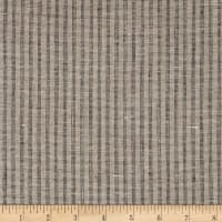 100% European Linen Plaid Natural/Black