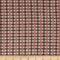100% European Linen Plaid Pink/Tan Multi