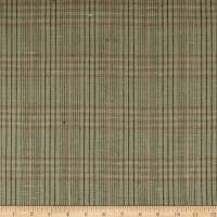 100% European Linen Plaid Green/Pink