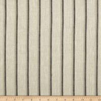 100% European Linen  Striped Blue/Natural