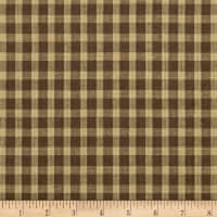 100% European Linen Brown Plaid