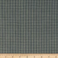 100% European Linen Blue/Grey Plaid