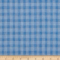 100% European Linen Blues Plaid
