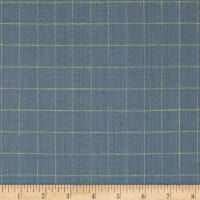100% European Linen Blue/Yellow Check