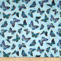 Timeless Treasures Metallic Enchanted Butterflies Sky