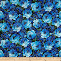 Timeless Treasures Metallic Enchanted Packed Roses Blue