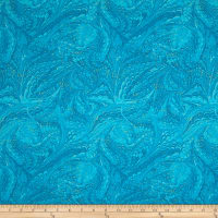 Timeless Treasures Metallic Enchanted Marble Aqua