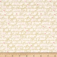 Timeless Treasures Metallic Happily Ever After Words Ivory