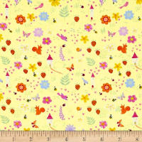 Timeless Treasures Metallic Fairy Trail Flowers & Strawberries Yellow