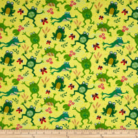 Timeless Treasures Playful Frogs Yellow
