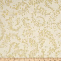 Timeless Treasures Metallic Instrumental Music Notes Cream
