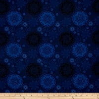 Timeless Treasures Bohemian Blues Quilterly Medallions Medium Storm