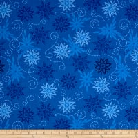 Timeless Treasures Bohemian Blues Snowflakes Royal