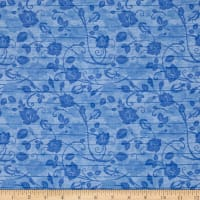 Timeless Treasures Bohemian Blues Floral On Wood Aqua