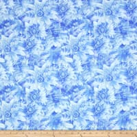 Timeless Treasures Bohemian Blues Daisy Ice