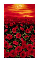 Timeless Treasures Tuscan Poppies Sunset Poppies Panel Black