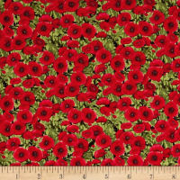 Timeless Treasures Tuscan Poppies Mini Poppies Green