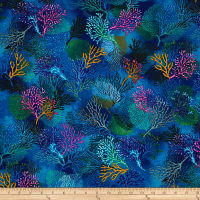 Timeless Treasures Sealife Vacation Coral Deep