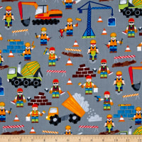 Timeless Treasures Dig It Construction Workers Grey