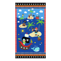 "Timeless Treasures Treasure Island 24"" Pirate Panel Blue"