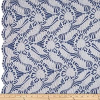 Designer Lace Fans Scallop Border Blue/White