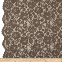 Designer Corded Floral Scallop Lace Taupe