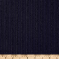 Pinstripe Super 120 Suiting Midnight Navy/Brown