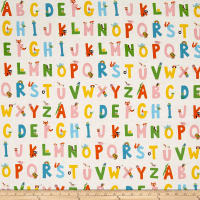 Heather Ross Kinder Alphabet White
