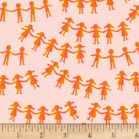 Heather Ross Kinder Paper Dolls Pink Orange