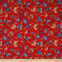 Telio Picasso Rayon Poplin Floral Dot Red