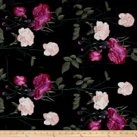 Telio Bouquet Knit Velvet Floral Embroidered Black/Pink