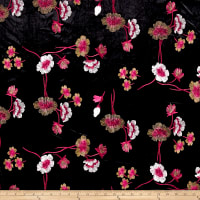 Telio Bouquet Knit Velvet Floral Embroidered Black/Red