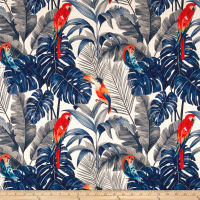 14 Karat Home Tropical Macaw Indigo Barkcloth